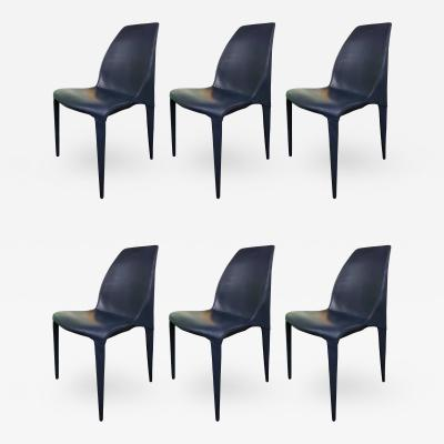 Cattelan Italia Set of 6 Dark Blue Leather Chairs by Cattelan Italia