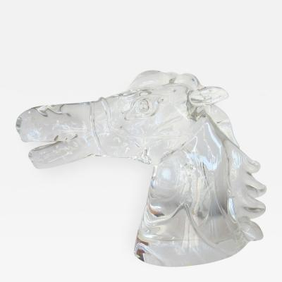 Cendese Large Signed Clear Murano Glass Horse Head