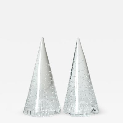 Cenedese 1980s Cenedese Italian Pair of Vintage Crystal Murano Glass Obelisks Sculptures