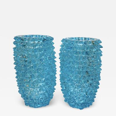 Cenedese 2000s Cenedese Italian Pair of Aquamarine Blue Rostrato Murano Glass Ovoid Vases