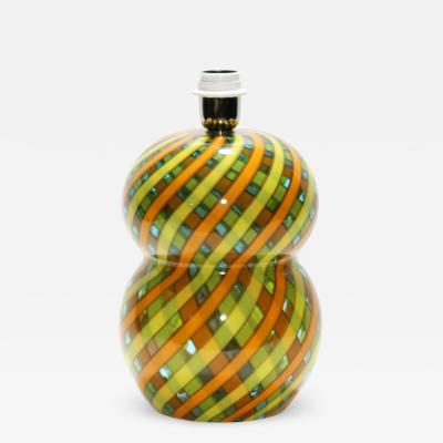 Cenedese CENEDESE 1960S YELLOW ORANGE AND GREEN BLOWN RETICELLO GLASS TABLE LAMP