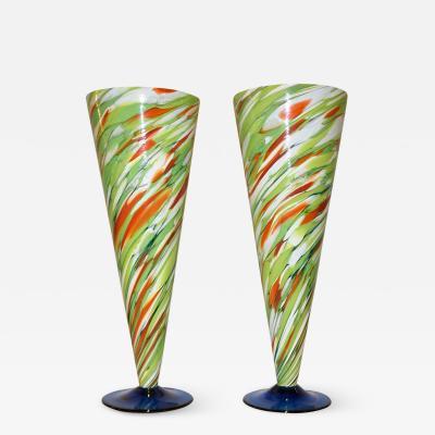 Cenedese Cenedese 1970 Pair of White Green Orange Murano Glass Conical Vases on Blue Base