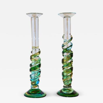 Cenedese Cenedese 1970s Vintage Italian Yellow Green Aqua Blue Murano Glass Candlesticks