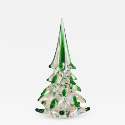 Cenedese Cenedese 1980 Italian Modern Forest Green Spike Murano Glass Tree Sculpture