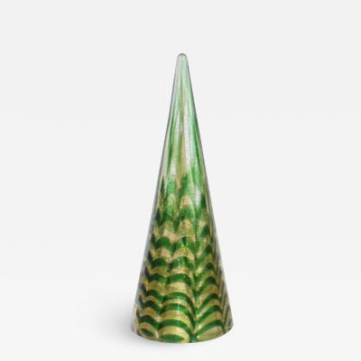 Cenedese Cenedese 1980s Italian Modern Gold Green Swirl Murano Glass Tree Sculpture