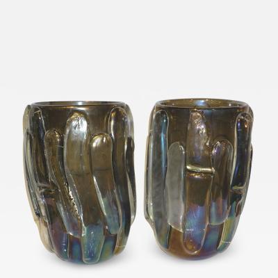 Cenedese Cenedese Italian Modern Pair of Iridescent Black Smoked Murano Glass Vases