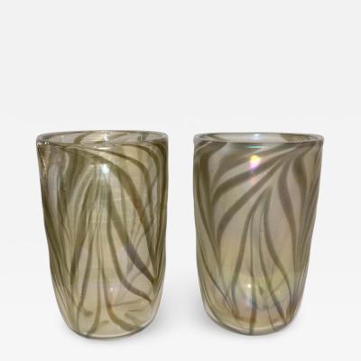 Cenedese Cenedese Italian Pair of Iridescent Zebra Smoked Gold Murano Glass Modern Vases