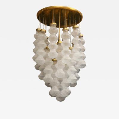 Cenedese Italian Mid Century Cenedese Murano Glass and Brass Flush Mount Chandelier