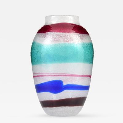 Cenedese Large Cenedese Pulegoso Fasce Vase Murano