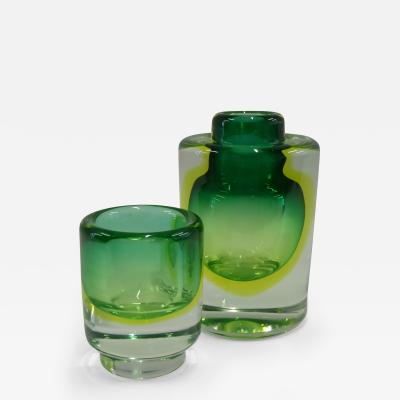 Cenedese Mid Century Modern Murano Cenedese Sommerso Uranium Glass Vessels 1950s