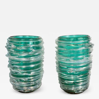 Cenedese Pair of Emerald Green Swirl Murano Glass Vases by Cenedese Signed 2019