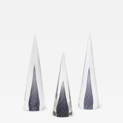 Cenedese Set of Three Murano Glass Cone Shaped Decorations by Cenedese