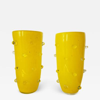 Cenedese Yellow Murano Glass Pair of Vases 1980s attributed to Cenedese
