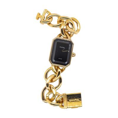 Chanel CHANEL PREMIER 18K YELLOW GOLD 1987 BLACK DIAL WATCH