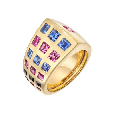 Chanel Chanel Blue Pink Sapphire Byzantine Band Ring