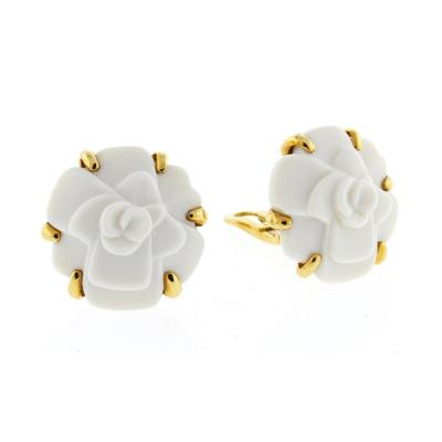 Chanel Chanel Camelia Flower White Agate Yellow Gold Earrings