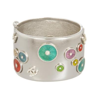 Chanel Chanel Crystal Enameled Hinged Bangle Bracelet