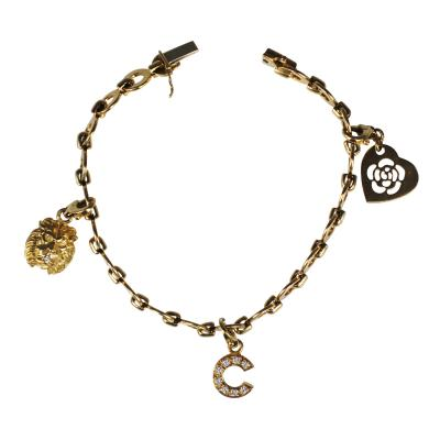 Chanel Chanel Paris Gold and Diamond Charm Bracelet