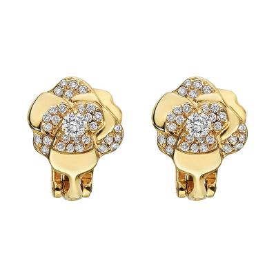 Chanel Chanel Small 18k Gold Diamond Camellia Earclips