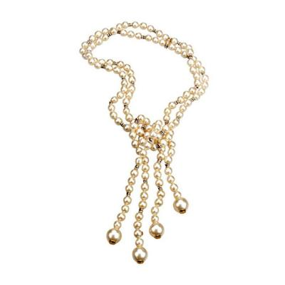 Chanel Vintage Chanel Double Strand Pearl Rhinestone Lariat Necklace