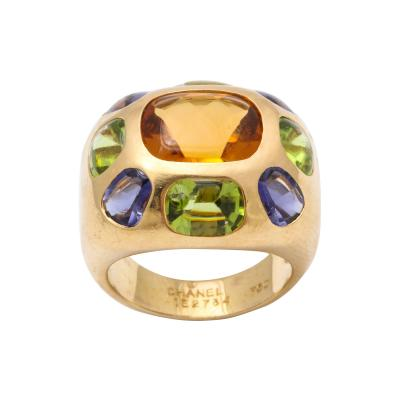 Chanel Vintage Chanel Gold Citrine and Semi Precious Stone Ring