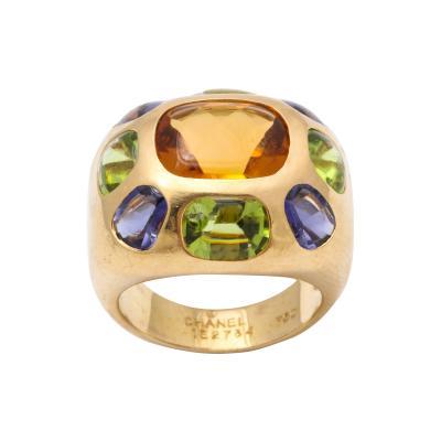 Chanel Vintage Chanel Gold Citrine and Semi Precious Stone Ring