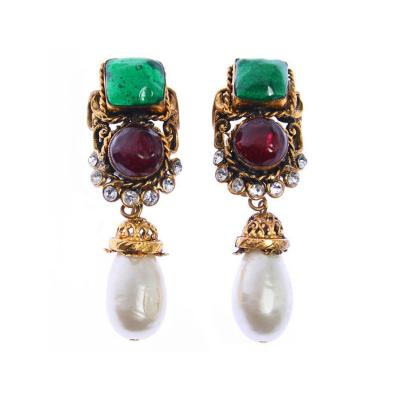Chanel Vintage Chanel Maison Gripoix Rhinestone and Pearl Earrings