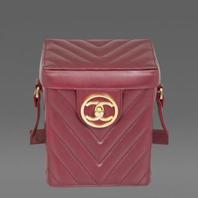 Chanel Vintage Chanel Red Leather Chevron Bag