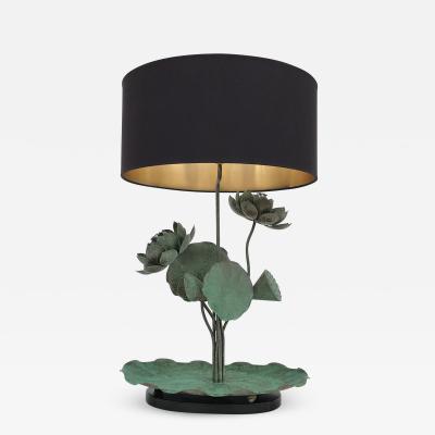 Chapman Manufacturing Company Brass Lotus Lamp in Verdigris Patina