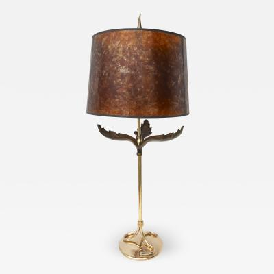 Chapman Manufacturing Company Chapman Style Table Lamp in Polished and Antique Brass with a Mica Shade