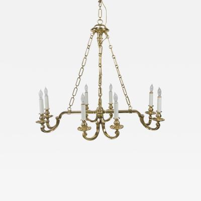 Chapman Manufacturing Company Eight Light Solid Brass Chandelier by Chapman