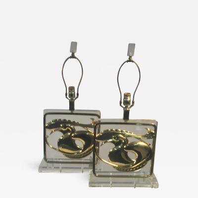 Chapman Manufacturing Company Exceptional Pair of Stylized Brass Egret and Fish Design Lucite Lamps