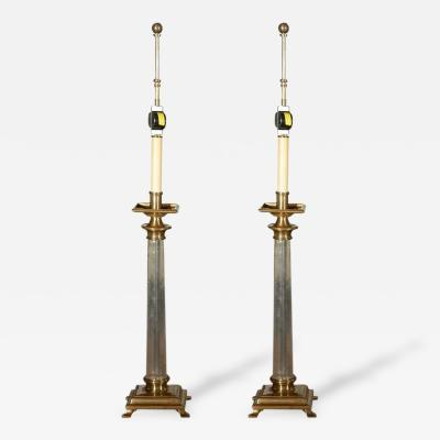 Chapman Manufacturing Company Pair of Glass Brass Table Lamps by Chapman