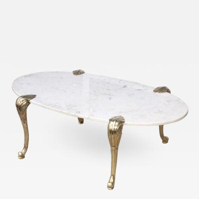 Chapman Mfg Co 1970s Marble And Brass Coffee Table Attributed To Chapman