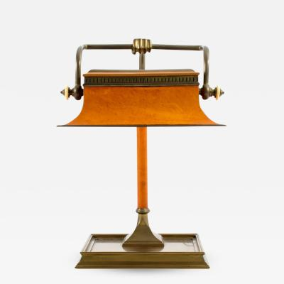 Chapman Mfg Co A Rare Bronze and Leather Bankers Light by Chapman