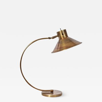 Chapman Mfg Co Chapman Manufacturing Articulating Brass Desk Lamp with Wide Brass Shade 1960s