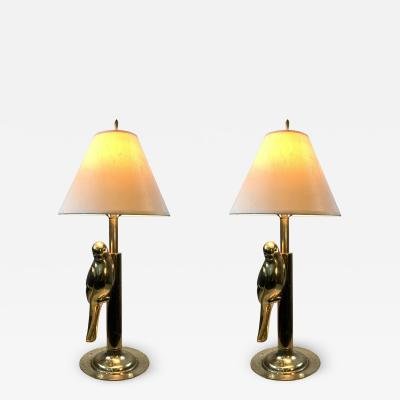 Chapman Mfg Co MODERN STYLIZED PAIR OF SCULPTURAL BRASS PARROT LAMPS