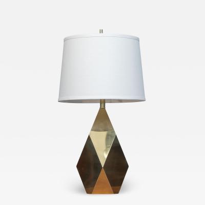 Chapman Mfg Co Mid Century Modern Brass Faceted Lamp