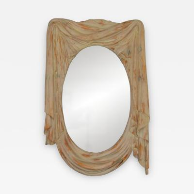 Chapman Mfg Co NeoClassical 1960s Draped Carved Wood Mirror by Chapman