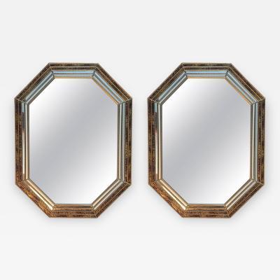 Chapman Mfg Co Pair of 1970s Octagonal Oil Drop Brass Mirrors by Chapman