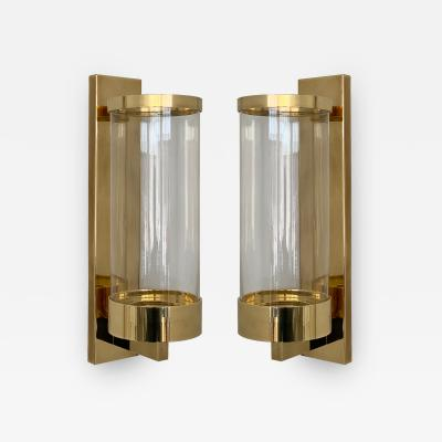 Chapman Mfg Co Pair of Chapman Brass and Glass Candle Wall Sconces