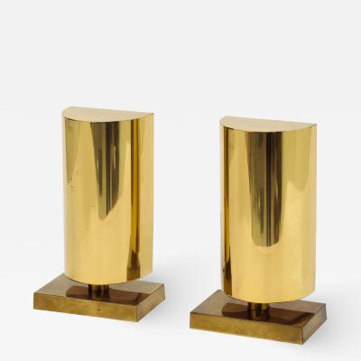 Chapman Mfg Co Pair of Modernist Lacquered Brass Table Sconces with Demilune Shades