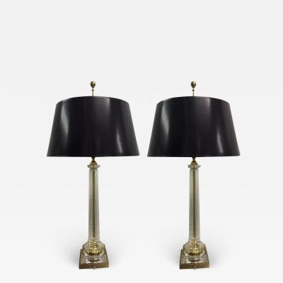 Chapman Mfg Co Pair of Neoclassical Style Glass and Brass Lamps by Chapman
