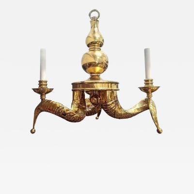 Chapman Mfg Co Vintage Solid Brass Ram Horn Chandelier