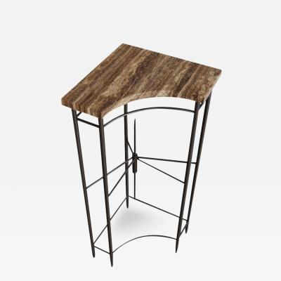 Chapter 101 Bespoke Contemporary Travertine Corner Table by Chapter 101