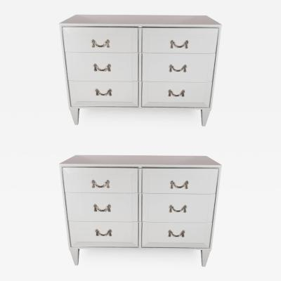 Charak Furniture Company Pair of White Lacquer Art Deco Chests with Nickeled Pulls by Charak Modern