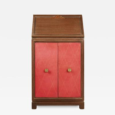 Charak Tommi Parzinger Pink Leather Mahogany Secretary for Charak Modern circa 1950