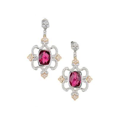 Charles Krypell Charles Krypell Pink Tourmaline Diamond Gold Chandelier Dangle Earring