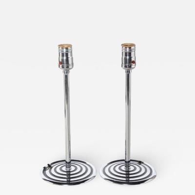 Chase Brass and Copper Company Slim Pair of Chase Brass Copper Chrome and Black Line Candlestick Lamps 1940