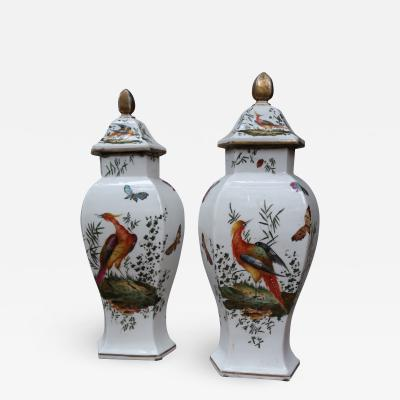 Chelsea A pair of signed porcelain vases by Chelsea England XIIIth century